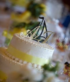 Toppers With Glitz Sailboat with Initials wedding