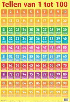 Tellen van 1 tot 100 Preschool Color Activities, Preschool Prep, School Tool, School Hacks, Learn Dutch, Math 5, Back To School Organization, Math For Kids, Math Classroom