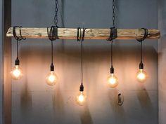 Hanglamp Industrieel Houten Balk 5 Fittingen Hangende Lampen Eetkamertafel Lamp Eettafel Verlichting