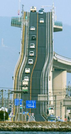 Eshima Ohashi Bridge, Japan ~ the bridge has a gradient of 6.1% on one side and 5.2% on the other.