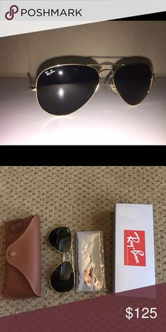 Classic Ray Ban Aviators Ray ban aviators in the classic colors of gold frame and green-classic lens. Comes with case, never opened cleaning cloth, and the ray ban packaging box. Great condition Ray-Ban Accessories Sunglasses