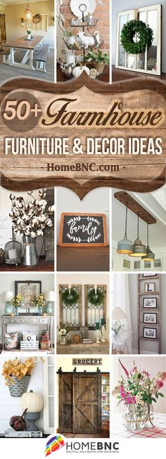 Farmhouse Furniture and Decor Ideas. Do you love the Fixer Upper look? Get inspired by these Farmhouse furniture and Decor ideas