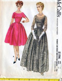50s McCall's evening dress sewing pattern 5194, uncut, bust 34 inches by Tigrisa on Etsy https://www.etsy.com/uk/listing/568784929/50s-mccalls-evening-dress-sewing-pattern