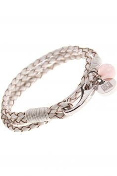 braided leather bracelet with rose quartz pendant I designed for NEW ONE I NEWONE-SHOP.COM