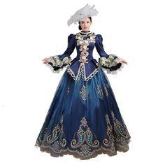Blue Marie Antoinette Style Costume Dress