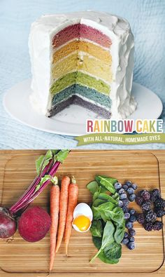Rainbow Cake with Homemade, All-Natural Dyes - SO COOL! Maybe when Jimmy's older (so he can appreciate it) ill make it :)