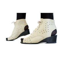 Vanilla pierced open toe/heel 70s wedge ankle booties. size 37/7 $38.00