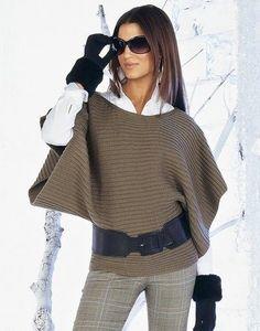 Модный Т-образный пуловер спицами