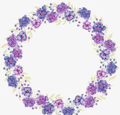 Purple flowers HQ Pictures, Beautiful Purple Painted Flowers, Purple Wreath, Flowers Bloom PNG Image