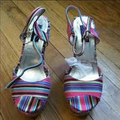 Color platforms Lots of color pretty platforms never been worn no box but brand new Shoes Platforms