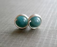 Apatite Gemstone Earrings.  Sterling Silver Wire by RuthAndJack