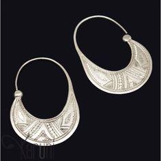 Bijoux Ethniques Touareg Boucles d'Oreilles Créoles en Argent 18 Plates Gravées 3 cm