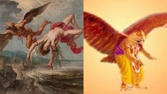 Icarus is not a god but these two share similar stories of flying too close to the Sun and burning their wings. The difference is that Icarus fell in to water and drowned while Sampati only lost his wings. Icarus Fell, Similarities Between, Closer To The Sun, Indian Gods, Story Inspiration, Greek Mythology, Old Things, Draw, Painting