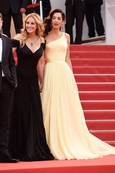 See all of our favorite celebrities arrive in gorgeous outfits at the Annual Cannes Film Festival! Amal Clooney, George Clooney, Pia Wurtzbach Gown, Celebrity Red Carpet, Celebrity Style, Red Carpet Looks, Red Carpet Dresses, Cannes Film Festival, Yellow Dress