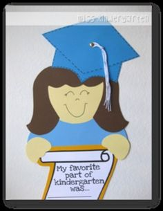 Miss Kindergarten: Graduation craft; This would be cute too if you asked them each month and created a log Pre School Graduation Ideas, Graduation Crafts, Graduation Project, Kindergarten Graduation, Graduate School, Graduation Celebration, Miss Kindergarten, Kindergarten Crafts, Kindergarten Classroom