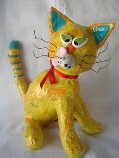 Oh, no! - Paper mache cat