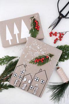 DIY Challenge: Geschenkpapier selber machen - New Ideas Noel Christmas, Christmas Wrapping, Christmas Crafts, Christmas Decorations, Eid Hampers, Holiday Break, Diy Weihnachten, Gift Packaging, Diy Gifts