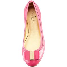 Kate Spade New York Tock Elastic-Trim Ballerina Flat, Pink ($198) ❤ liked on Polyvore
