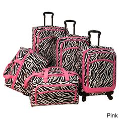 American Flyer Pink Zebra Print 5-piece Spinner Luggage Set - Overstock™ Shopping - Great Deals on American Flyer Five-piece Sets