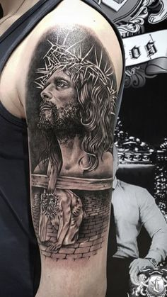 Jesus Tattoos - Tons of Jesus Tattoo Designs & Ideas - Tattoo Me Now Jesus Tattoo On Arm, Jesus Tattoo Sleeve, Religious Tattoo Sleeves, Jesus Tattoo Design, Lion Tattoo Sleeves, Best Sleeve Tattoos, Christus Tattoo, Religion Tattoos, Scars Tattoo Cover Up