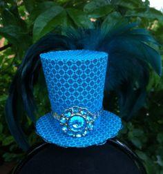 Tiny Top Hat / Mini Top Hat / Blue Feathers / Blue Jewel
