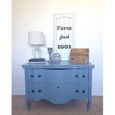 Farm Fresh Homestead. Vintage serpentine dresser painted with chalkpaint and spoon flower papered sides. Antique, shabby chic, diy