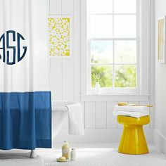 Classic Border Shower Curtain, Royal Navy // simplicity in the bathroom