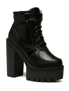 Chunky Heel Lace-Up Platform Short Boots