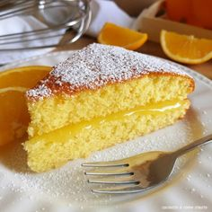 torta all'arancia soffice con ripieno crema Easy Cake Recipes, Sweet Recipes, Homemade Cookbook, La Marmite, Pastry Art, Cake Fillings, New Cake, Almond Cakes, Vegan Cake
