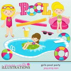 Girls Pool Party Cute Digital Clipart for Card Design, Scrapbooking, and Web Design