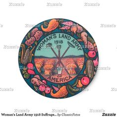 Woman's Land Army 1918 Suffragette Farming Art Classic Round Sticker