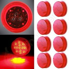 """8pcs 2.5"""" Stripe Side Marker Clearance Light Red Trailer Lamps 13LEDs Round"""