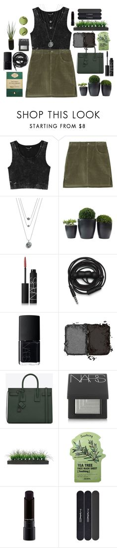 """Down to Earth"" by flowerclouds ❤ liked on Polyvore featuring Monki, Simply Vera, NARS Cosmetics, Urbanears, Yves Saint Laurent, Vintage, Tony Moly, Victoria, Victoria Beckham and MAC Cosmetics"