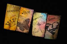 Mixed Media Grunge Magnets. Life Moments magnets. Great addition to your work cubicle or office. Dorm room, kitchen fridge.