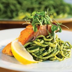 Dandelion Green Pesto Linguine. This great spring recipe can be made with arugula instead of dandelion greens.