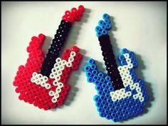 Guitar hama beads - My little world of Hamas Easy Perler Bead Patterns, Melty Bead Patterns, Perler Bead Templates, Diy Perler Beads, Perler Bead Art, Beading Patterns, Hamma Beads 3d, Hamma Beads Ideas, Pearler Beads