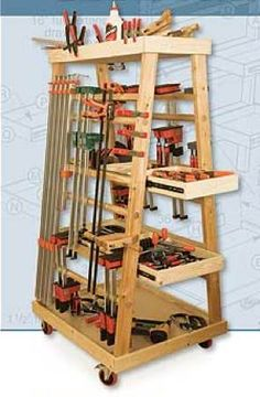 image of clamp rack for woodworking shop - Google Search