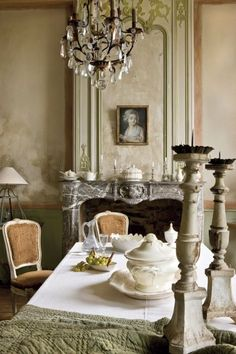 Vintage dining. Love the marble mantel.