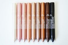 NYX Infinite Shadow Sticks in Crystal, Sweet Pink, Flushed, Rose Gold, Silk, Almond, Bronze, Chocolate, and Blackout www.lustforlipgloss.com