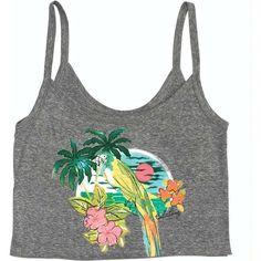 Billabong Women's Surf Love Crop Tank ($7.98) ❤ liked on Polyvore featuring tops, shirts, crop tops, dark athletic grey, t-shirt/prints, ribbed tank, crop shirts, gray shirt, summer shirts and long tank tops