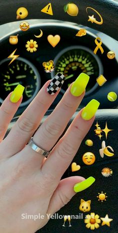 Yellow - gelb to checkered nail print. Yellow - gelb to checkered nail print. Yellow Pin by Marsilda on Nails in 2019 Neon Yellow Nails, Neon Acrylic Nails, Yellow Nails Design, Neon Nail Art, Yellow Nail Art, Neon Nails, Acrylic Art, Neon Green, Flag Nails