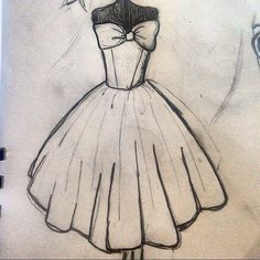 Dress Design Drawing, Dress Design Sketches, Girl Drawing Sketches, Art Drawings Sketches Simple, Fashion Design Drawings, Pencil Art Drawings, Cute Drawings, Dress Drawing Easy, Illustration Mode