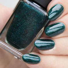 Fir Coat is a wonderfully festive and sultry emerald green holographic nail polish precisely formulated for maximum depth. Just the right color for the season, yet effortlessly appropriate any time of the year!   Look closely and prepare to marvel at the beautiful array of green and teal sparkles shining through. Last but definitely not least, Fir Coat has been studded with the perfect amount of holographic magic scattered throughout!  Fully opaque in 2-3 coats