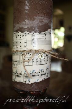DIY sheet music candle