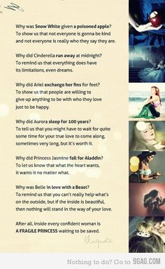 I love this. Disney movies aren't just about fairy tales and pretty princesses. Inside every Disney movie there are life lessons that can be taught. Disney Girls, Disney Love, Disney Magic, Disney Stuff, Disney Pixar, Disney And Dreamworks, Walt Disney, Disney Nerd, Disney Theme