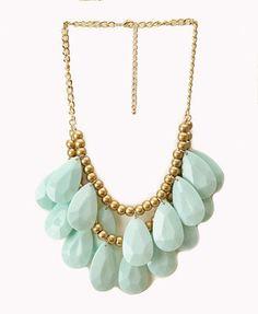 Layered Faux Stone Fringe Necklace