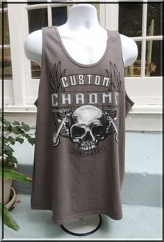NEW SKULL BIKER Motorcycle Custom Chrome Harley Sleeveless Graphic T Shirt Sx XL
