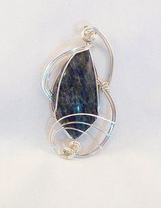 PENDANT Denium Lapis wrapped in sterling by CHERYLMARIESDESIGNS, $69.00