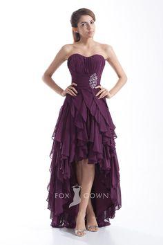 plum high-low asymmetrical ruffle skirt sweetheart strapless homecoming dress