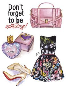 Awesome fashion illustration is featuring cool girly outfit. Pretty floral dress, Louboutin pumps, Proenza Schouler satchel and Vivienne Westwood perfume